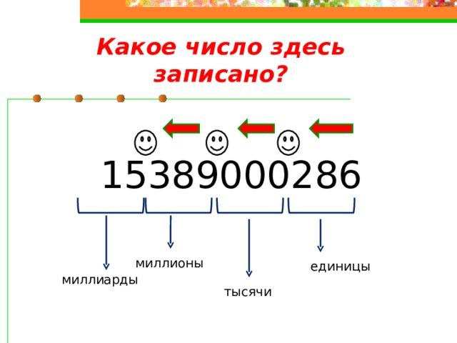 Какое число здесь записано? 15389000286 миллионы единицы миллиарды тысячи
