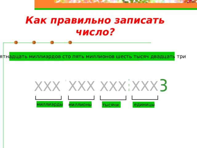 Как правильно записать число? Пятнадцать миллиардов сто пять миллионов шесть тысяч двадцать три  15 105 006 023 ХХХ ХХХ ХХХ ХХХ миллиарды единицы миллионы тысячи