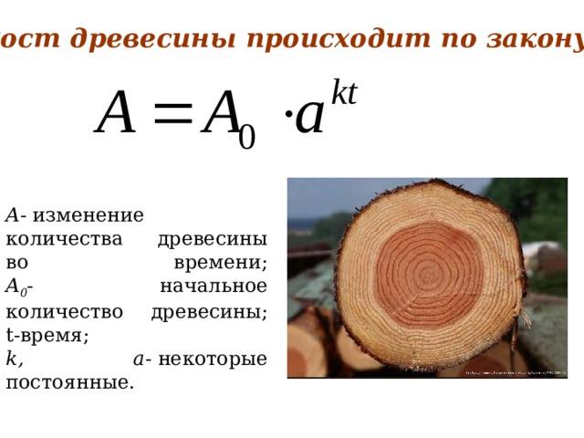 Рост древесины происходит по закону   A -  изменение количества древесины во времени;  A 0 - начальное количество древесины;  t-время; k, а-  некоторые постоянные.