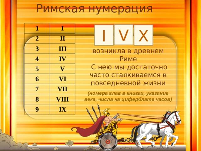 Римская нумерация  1 I 2 II 3 III 4 IV 5 V 6 VI 7 VII 8 VIII 9 IX V I X возникла в древнем Риме  С нею мы достаточно часто сталкиваемся в повседневной жизни (номера глав в книгах, указание века, числа на циферблате часов)