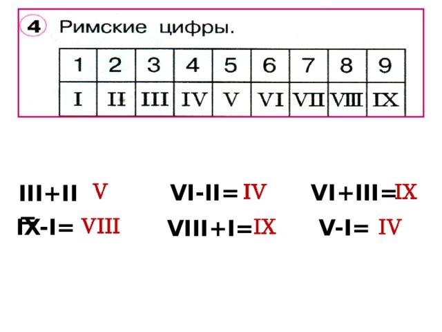VI+III= VI-II= III+II= IX-I= V-I= VIII+I=