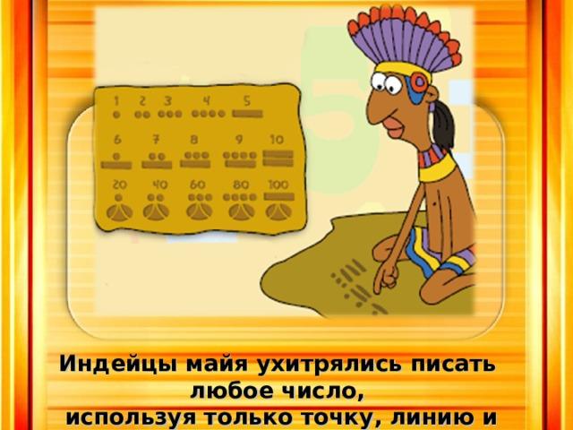 Индейцы майя ухитрялись писать любое число,  используя только точку, линию и кружочек