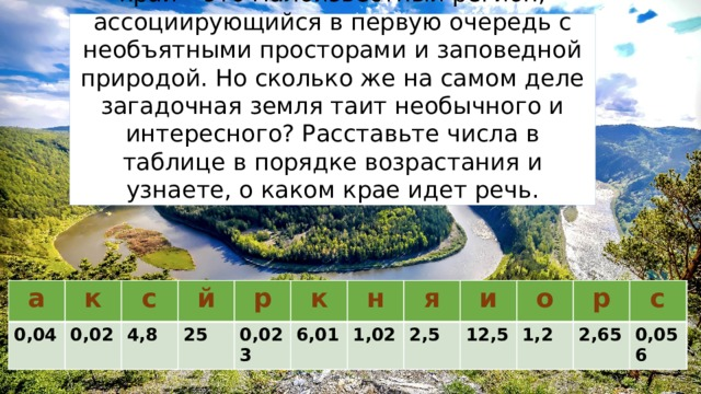 Для большинства россиян этот далекий край – это малоизвестный регион, ассоциирующийся в первую очередь с необъятными просторами и заповедной природой. Но сколько же на самом деле загадочная земля таит необычного и интересного? Расставьте числа в таблице в порядке возрастания и узнаете, о каком крае идет речь. к а 0,02 р к 0,04 а с 0,02 0,023 й с 4,8 0,04 р н 25 0,056 1,02 к 0,023 о я н 1,2 6,01 я р 1,02 2,5 и с 2,5 2,65 о 12,5 к 4,8 р и 1,2 6,01 с й 2,65 12,5 25 0,056 Красноярский край