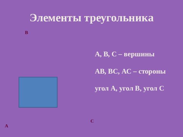 Элементы треугольника В А, В, С – вершины  АВ, ВС, АС – стороны  угол А, угол В, угол С С А