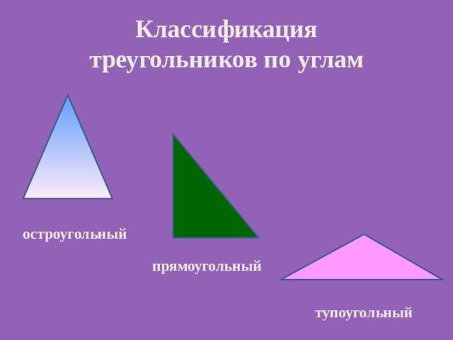 Классификация  треугольников по углам остроугольный прямоугольный тупоугольный