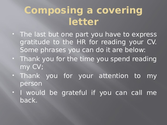 Composing a covering letter