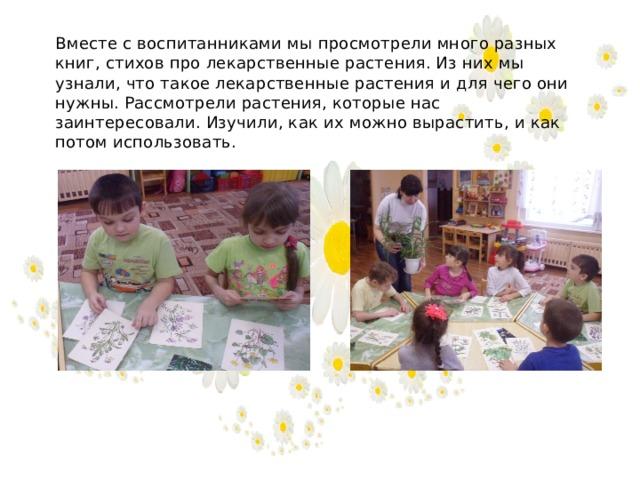 Вместе с воспитанниками мы просмотрели много разных книг, стихов про лекарственные растения. Из них мы узнали, что такое лекарственные растения и для чего они нужны. Рассмотрели растения, которые нас заинтересовали. Изучили, как их можно вырастить, и как потом использовать.