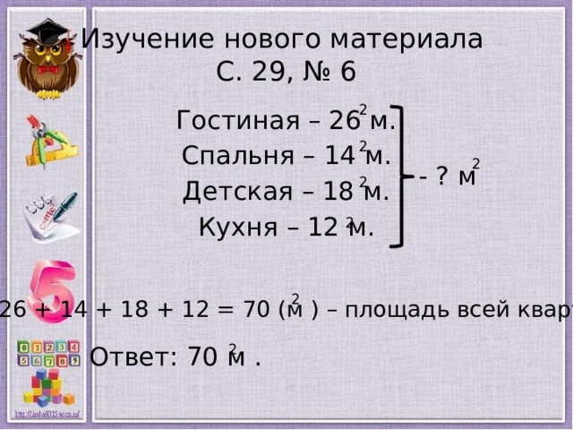 Изучение нового материала  С. 29, № 6 2 Гостиная – 26 м. Спальня – 14 м. Детская – 18 м. Кухня – 12 м. 2 2 - ? м 2 2 2 26 + 14 + 18 + 12 = 70 (м ) – площадь всей квартиры. Ответ: 70 м . 2