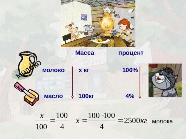 молоко  Масса процент молоко  x кг 100%    масло 100кг 4% молока 9