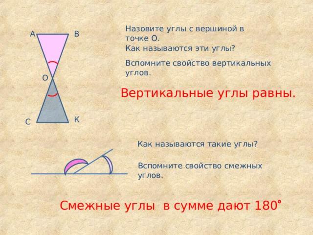 Назовите углы с вершиной в точке О. А В Как называются эти углы? Вспомните свойство вертикальных углов. О Вертикальные углы равны. К С Как называются такие углы? Вспомните свойство смежных углов. Смежные углы в сумме дают 180 