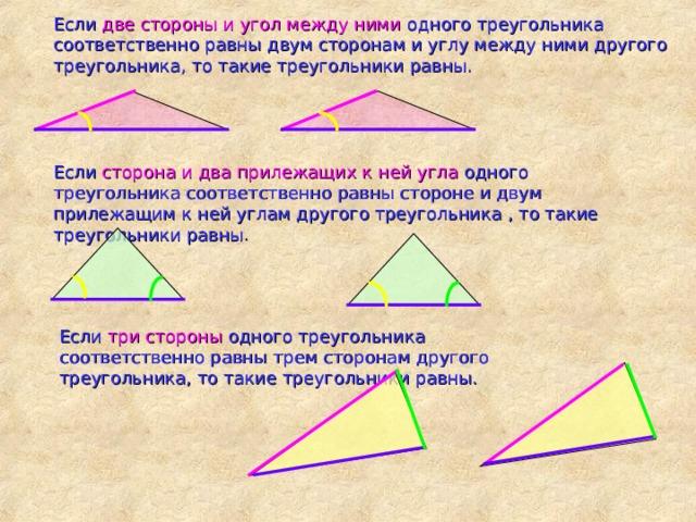 Если две стороны и угол между ними одного треугольника соответственно равны двум сторонам и углу между ними другого треугольника, то такие треугольники равны. Если сторона и два прилежащих к ней угла одного треугольника соответственно равны стороне и двум прилежащим к ней углам другого треугольника , то такие треугольники равны . Если три стороны одного треугольника соответственно равны трем сторонам другого треугольника, то такие треугольники равны.