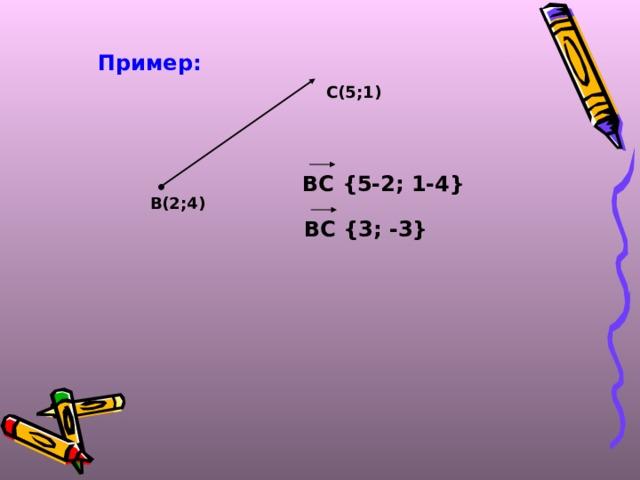 Пример: С(5;1) ВС {5-2; 1-4}  В(2;4) ВС {3; -3}