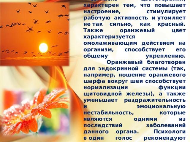Оранжевый   —согласно цветотерапии , характерен тем, что повышает настроение, стимулирует рабочую активность иутомляет нетак сильно, как красный. Также оранжевый цвет характеризуется омолаживающим действием на организм, способствует его общему укреплению.   Оранжевый благотворен для эндокринной системы (так, например, ношение оранжевого шарфа вокруг шеи способствует нормализации функции щитовидной железы), а также уменьшает раздражительность и эмоциональную нестабильность, которые являются одними из последствий заболеваний данного органа . Психологи водин голос рекомендуют использовать его для оформления детских комнат.