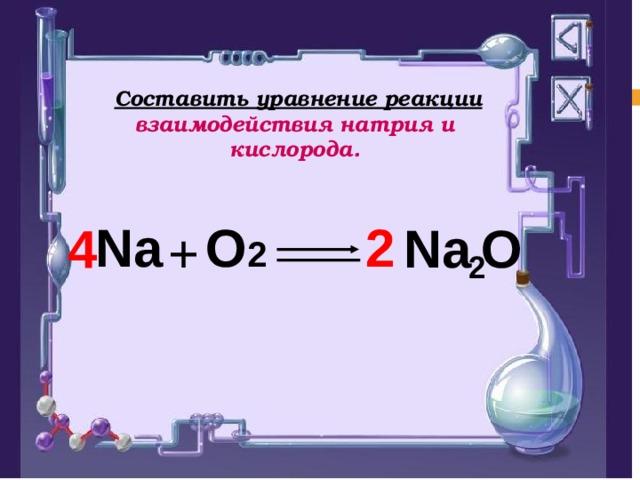 Составить уравнение реакции взаимодействия натрия и кислорода.  2 2 Na O 2 Na  O  4 +