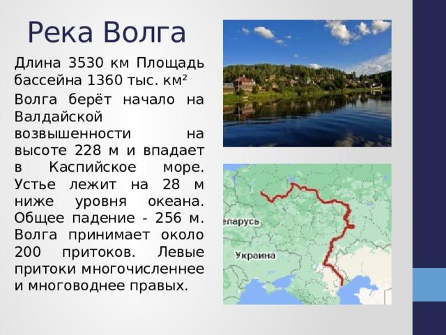 Река Волга Длина 3530 км Площадь бассейна 1360 тыс. км² Волга берёт начало на Валдайской возвышенности на высоте 228 м и впадает в Каспийское море. Устье лежит на 28 м ниже уровня океана. Общее падение - 256 м. Волга принимает около 200 притоков. Левые притоки многочисленнее и многоводнее правых.