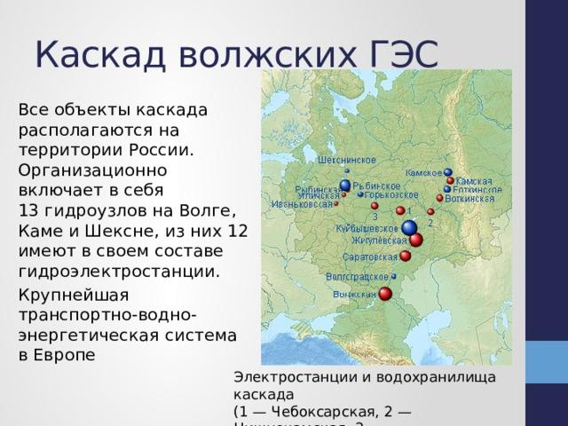Каскад волжских ГЭС Все объекты каскада располагаются на территорииРоссии. Организационно включает в себя 13гидроузловна Волге, Каме и Шексне, из них 12 имеют в своем составе гидроэлектростанции. Крупнейшая транспортно-водно-энергетическая система вЕвропе Электростанции и водохранилища каскада  (1 — Чебоксарская, 2 — Нижнекамская, 3 — Нижегородская)