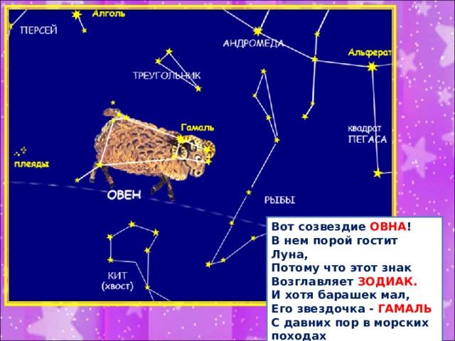 Вот созвездие ОВНА ! В нем порой гостит Луна, Потому что этот знак Возглавляет ЗОДИАК.  И хотя барашек мал, Его звездочка - ГАМАЛЬ  С давних пор в морских походах Помогает мореходам!