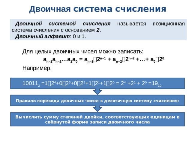Двоичная система  счисления Двоичной системой счисления называется позиционная система счисления с основанием 2 . Двоичный алфавит : 0 и 1. Для целых двоичных чисел можно записать: a n–1 a n–2 …a 1 a 0 = a n–1  2 n–1 + a n–2  2 n–2 +…+ a 0  2 0 Например: 10011 2 =1  2 4 +0  2 3 +0  2 2 +1  2 1 +1  2 0 = 2 4 +2 1 + 2 0 =19 10 Правило перевода двоичных чисел в десятичную систему счисления: Вычислить сумму степеней двойки, соответствующих единицам в свёрнутой форме записи двоичного числа