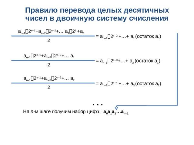 Правило перевода целых десятичных чисел в двоичную систему счисления  a n–1  2 n–1 +a n–2  2 n–2 +… a 1  2 1 +a 0 = a n–1  2 n–2 +…+ a 1 (остаток a 0 ) 2  a n–1  2 n–1 +a n–2  2 n–2 +… a 1 = a n–1  2 n–3 +…+ a 2 (остаток a 1 ) 2  a n–1  2 n–1 +a n–2  2 n–2 +… a 2 = a n–1  2 n–4 +…+ a 3 (остаток a 2 ) 2 . . . На n -м шаге получим набор цифр: a 0 a 1 a 2 …a n–1