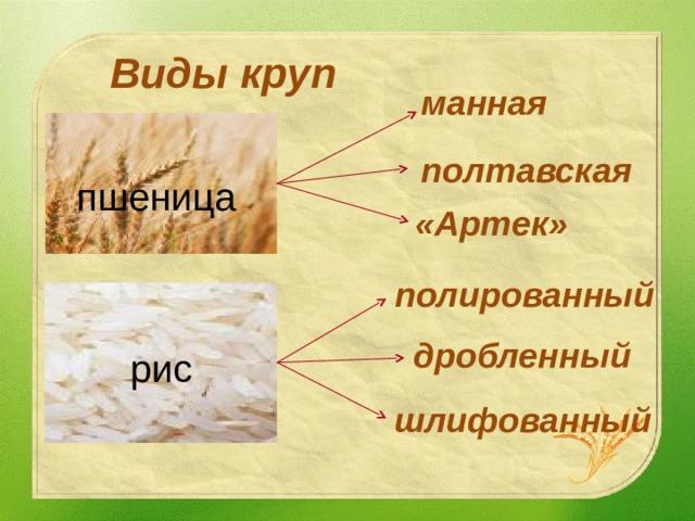 Виды круп манная полтавская пшеница «Артек» полированный дробленный рис шлифованный