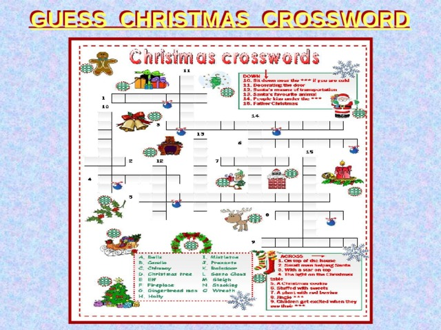 GUESS CHRISTMAS CROSSWORD