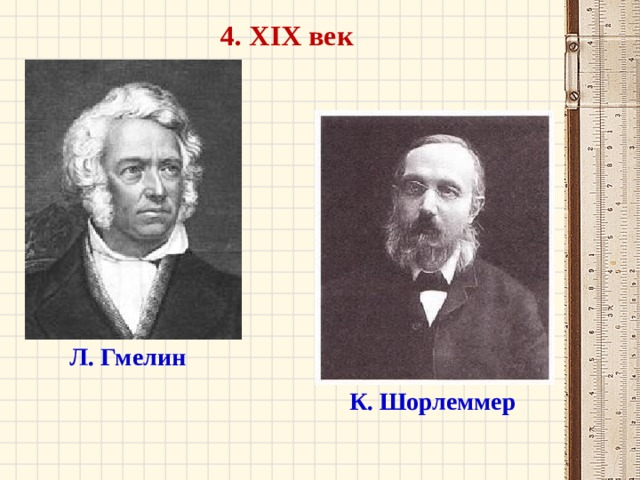 4. XIX век Л. Гмелин К. Шорлеммер