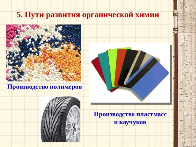 5. Пути развития органической химии Производство полимеров Производство пластмасс и каучуков