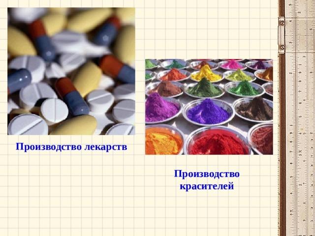 Производство лекарств Производство красителей