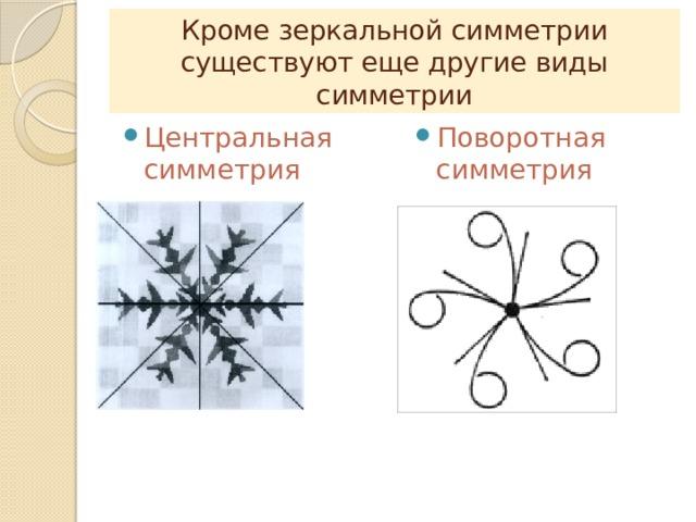 Кроме зеркальной симметрии существуют еще другие виды симметрии