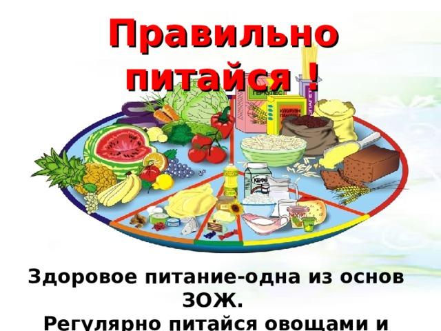 Правильно питайся ! Здоровое питание-одна из основ ЗОЖ. Регулярно питайся овощами и фруктами!