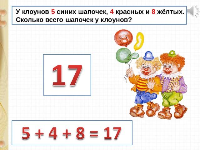 У клоунов 5 синих шапочек, 4 красных и 8 жёлтых.  Сколько всего шапочек у клоунов?
