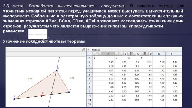 2 - й  э т ап .  Разра б о т к а  выч и сли т е льно г о  а л г ор и т м а .  В  к а ч е с т в е  м е т о да  для уточнения исходной гипотезы перед учащимися может выступать вычислительный эксперимент. Собранные в электронную таблицу данные о соответственных текущих значениях отрезков АВ=c, BC=a, CD=e, AD=f позволяют исследовать отношения длин отрезков, результатом чего является выдвижение гипотезы  справедливости равенства: AB   BC AD  CD . . Уточнение исходной гипотезы  теоремы: