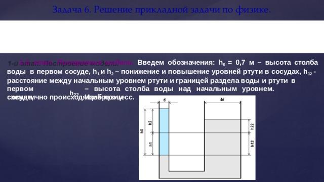 Задача 6. Решение прикладной задачи по  физике. В двух сообщающихся сосудах находится ртуть. Диаметр первого сосуда в четыре раза больше  диаметра второго. В первый сосуд наливают воду. Высота столба  воды 0,7 м. Определить, на сколько поднимется уровень ртути в одном сосуде и опустится в  другом. 1-й этап. Построение модели. Введем обозначения: h 0 = 0,7 м – высота столба воды в первом сосуде, h 1 и h 2 – понижение и повышение уровней ртути в сосудах, h 12 - расстояние между начальным уровнем ртути и границей раздела воды и ртути  в пе р в о м  с о с у де, –  выс о т а  с т о л ба  в о ды  над  н а чал ь ным  у р ов н е м.  И з обр а зим h 22 схематично происходящий  процесс.