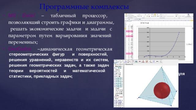 Программные  комплексы MS Excel – табличный процессор, позволяющий строить графики и диаграммы, решать экономические задачи и задачи с параметром путем варьирования значений переменных; GeoGebra  – динамическая  геометрическая сред а  с  шир о к и м и построения   и стереометрических фигур и поверхностей, решения уравнений, неравенств и их систем, решения геометрических задач, а также задач теории вероятностей и математической статистики, прикладных  задач; ис с л едо в а н ия  гр а ф и ко в , в о з м о ж н о с т ям и  для