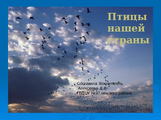 Птицы нашей страны Птицы Составила :Воспитатель  Алексеева .Е.В ГБДОУ №37 невского района