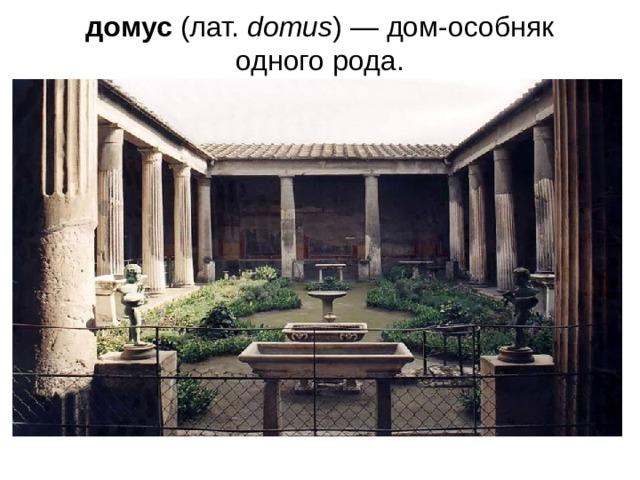 домус (лат. domus )— дом-особняк одного рода.