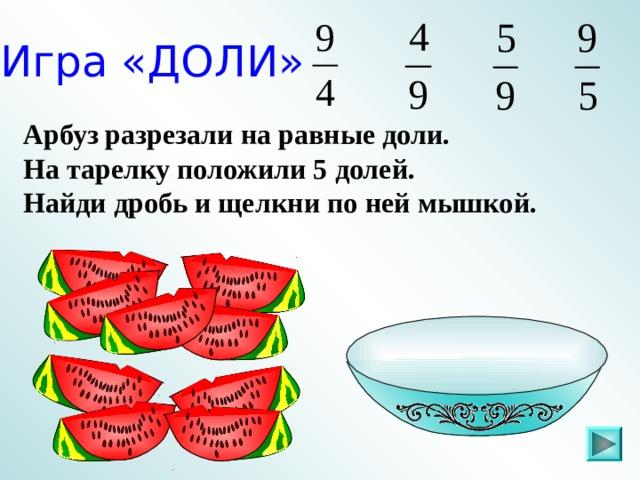 Игра «ДОЛИ» Арбуз разрезали на равные доли. На тарелку положили 5 долей. Найди дробь и щелкни по ней мышкой. Пригласите к компьютеру ученика