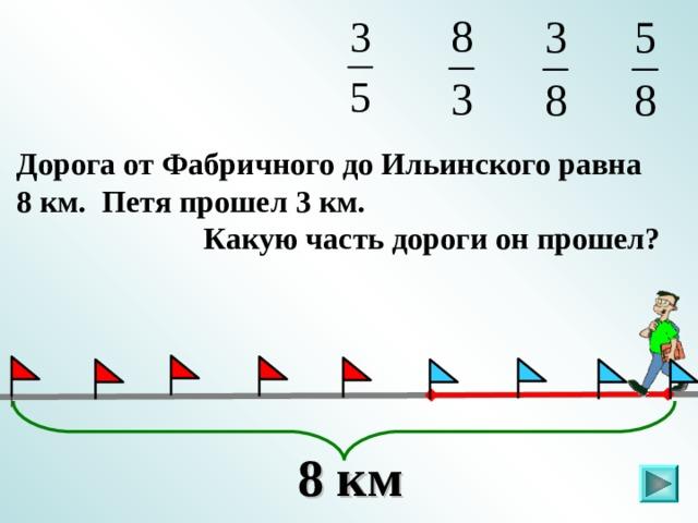Дорога от Фабричного до Ильинского равна 8 км. Петя прошел 3 км.  Какую часть дороги он прошел? . 8 км