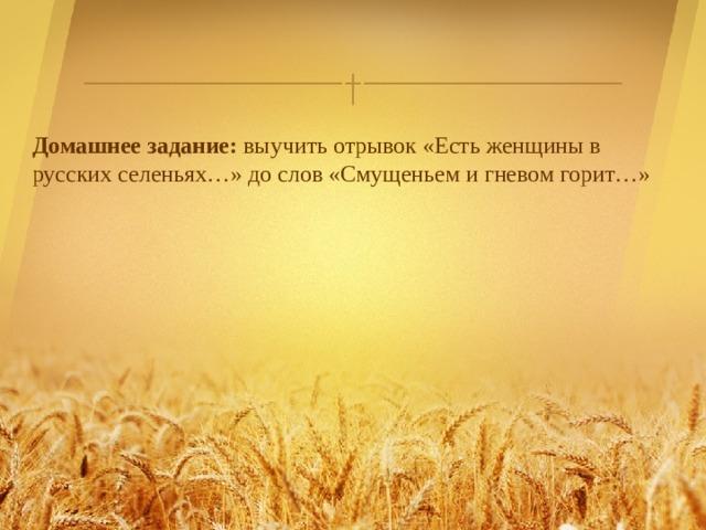 Домашнее задание: выучить отрывок «Есть женщины в русских селеньях…» до слов «Смущеньем и гневом горит…»