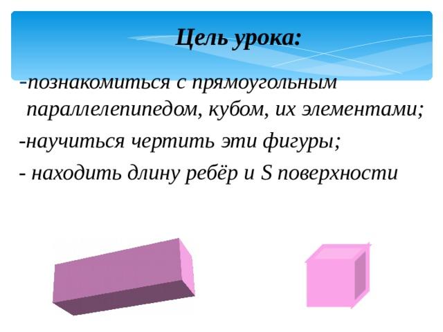 Цель урока:  - познакомиться с прямоугольным параллелепипедом, кубом, их элементами;  -научиться чертить эти фигуры;  - находить длину ребёр и S поверхности