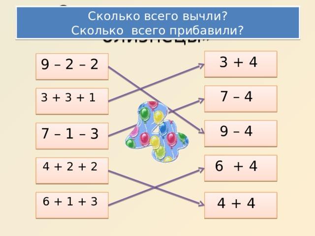 Сколько всего вычли? Сколько всего прибавили? Соедини «примеры- близнецы» 3 + 4 9 – 2 – 2 7 – 4 3 + 3 + 1 9 – 4 7 – 1 – 3 6 + 4 4 + 2 + 2 6 + 1 + 3 4 + 4