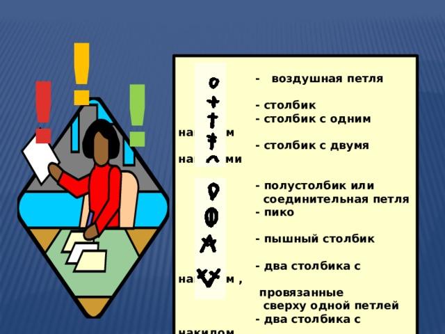 ! !  - воздушная петля   - столбик  - столбик с одним накидом  - столбик с двумя накидами   - полустолбик или  соединительная петля  - пико   - пышный столбик   - два столбика с накидом ,  провязанные  сверху одной петлей  - два столбика с накидом,  провязанные из одной петли   !