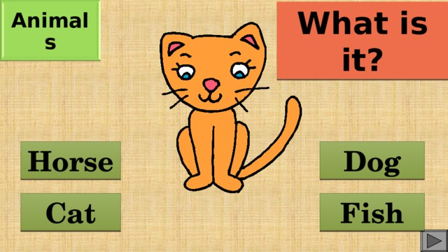 Animals What is it? Dog Horse Cat Fish