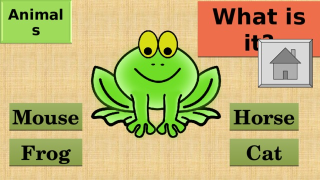 Animals What is it? Horse Mouse Frog Cat