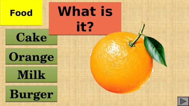 Food What is it? Cake Orange Milk Burger