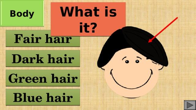 Body What is it? Fair hair Dark hair Green hair Blue hair