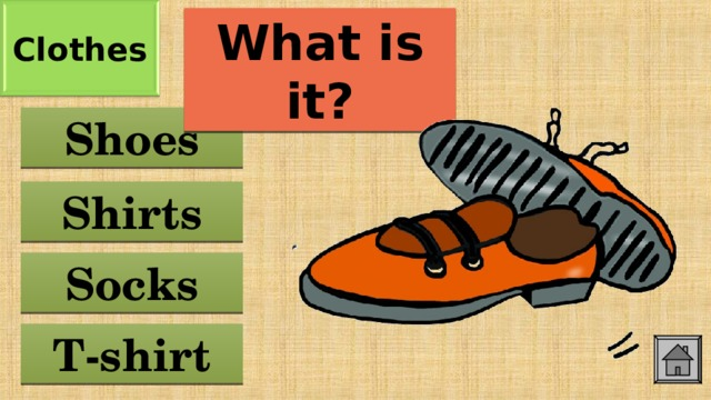 Clothes What is it? Shoes Shirts Socks T-shirt