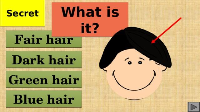 Secret What is it? Fair hair Dark hair Green hair Blue hair