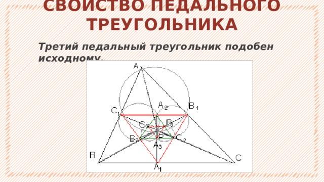 СВОЙСТВО ПЕДАЛЬНОГО ТРЕУГОЛЬНИКА Третий педальный треугольник подобен исходному. 1