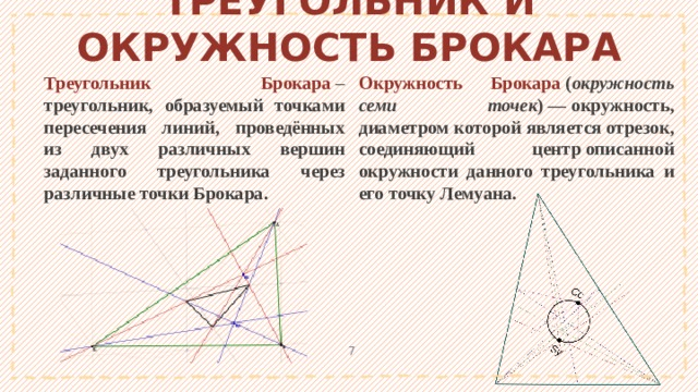 ТРЕУГОЛЬНИК И ОКРУЖНОСТЬ БРОКАРА Треугольник Брокара – треугольник, образуемый точками пересечения линий, проведённых из двух различных вершин заданного треугольника через различныеточки Брокара. Окружность Брокара  ( окружность семи точек )—окружность, диаметром которой является отрезок, соединяющий центрописанной окружности данного треугольника и его точку Лемуана. 1